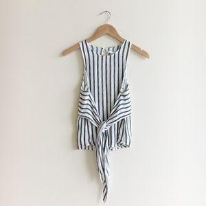 ASTR The Label Linen Stripe Wrap Sleeveless Top